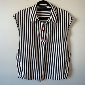 Zara black/white striped sleeveless blouse